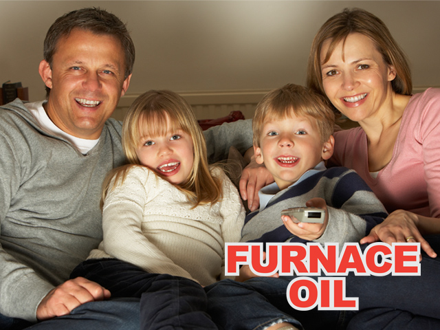 logo for furnace oil superimposed on front-view image of family sitting together