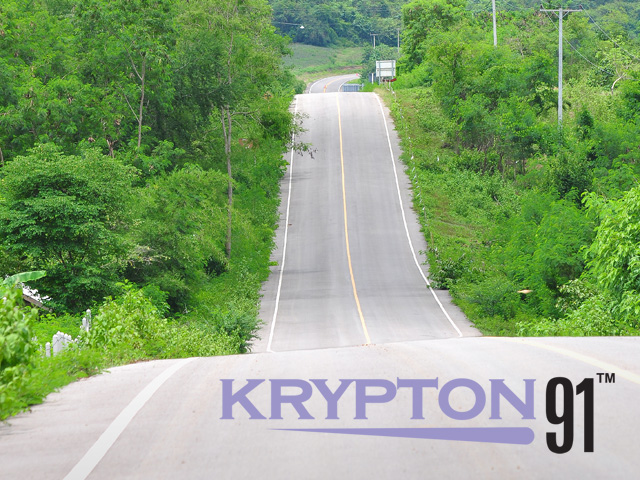 logo for krypton91 superimposed on image of a road leading into the horizon