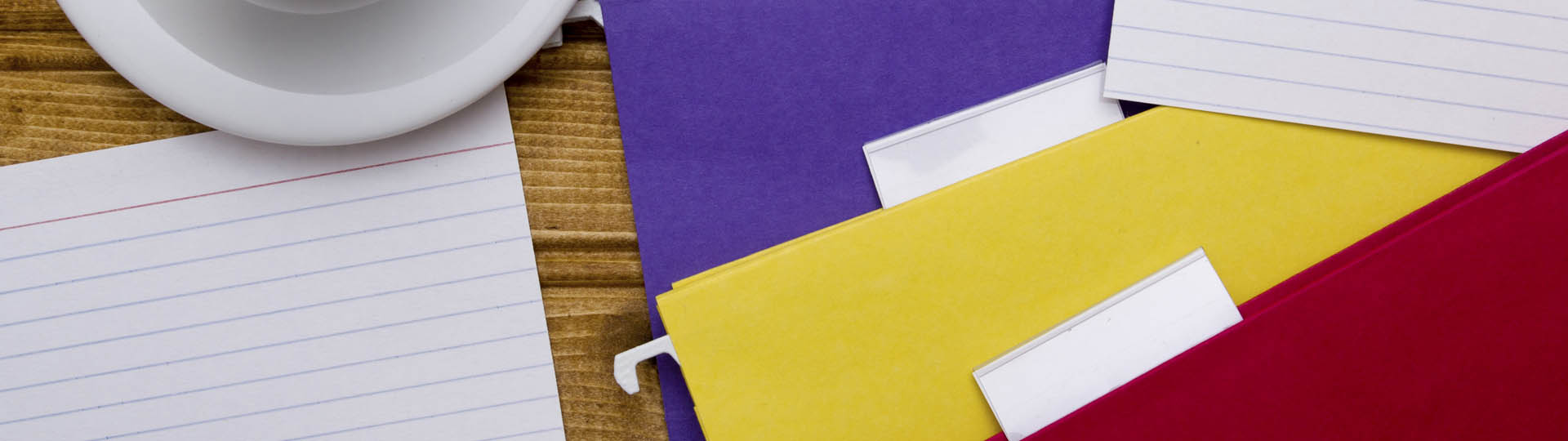 top view of stacks of file folders on top of a table