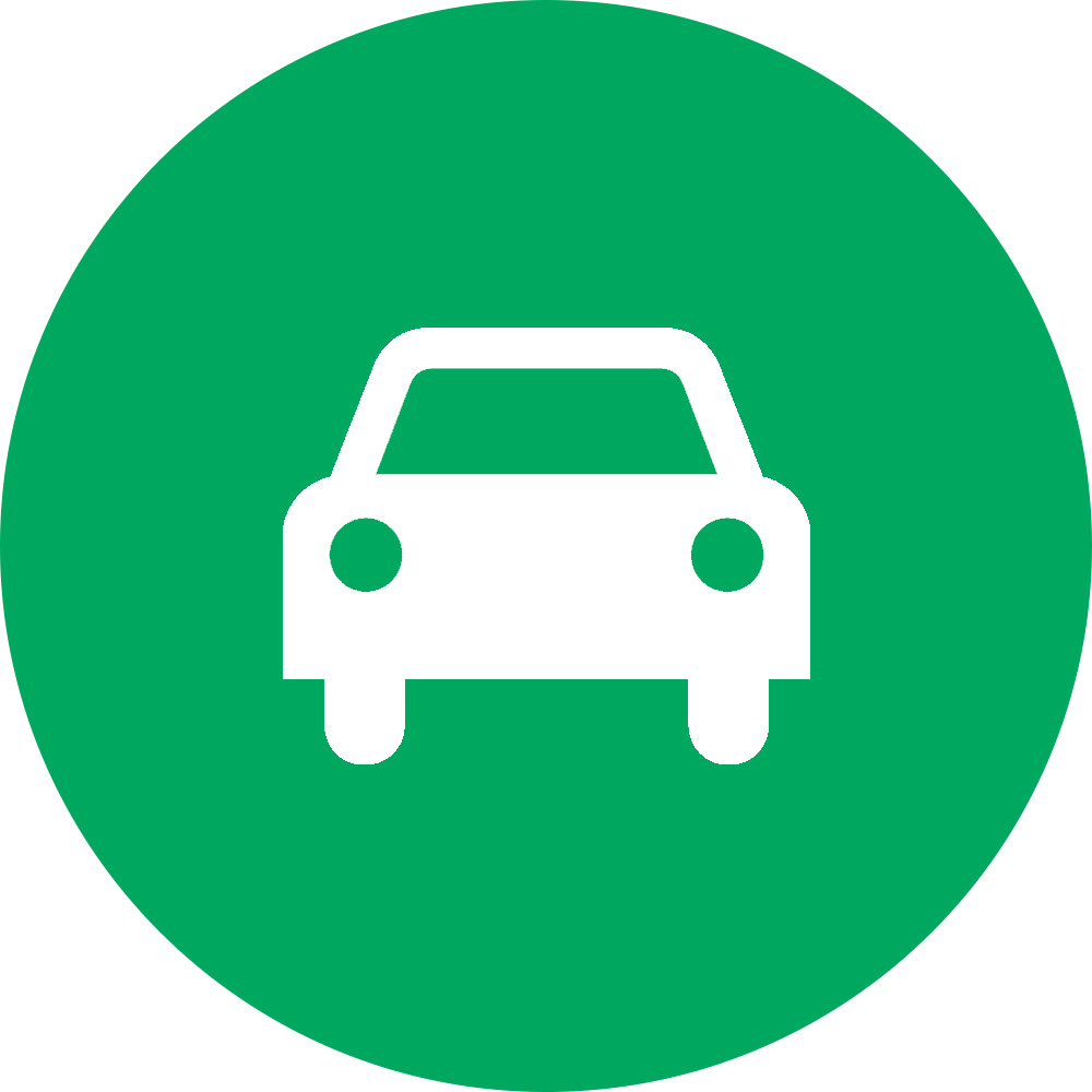 outline of the front of a car superimposed on green filled-in circle