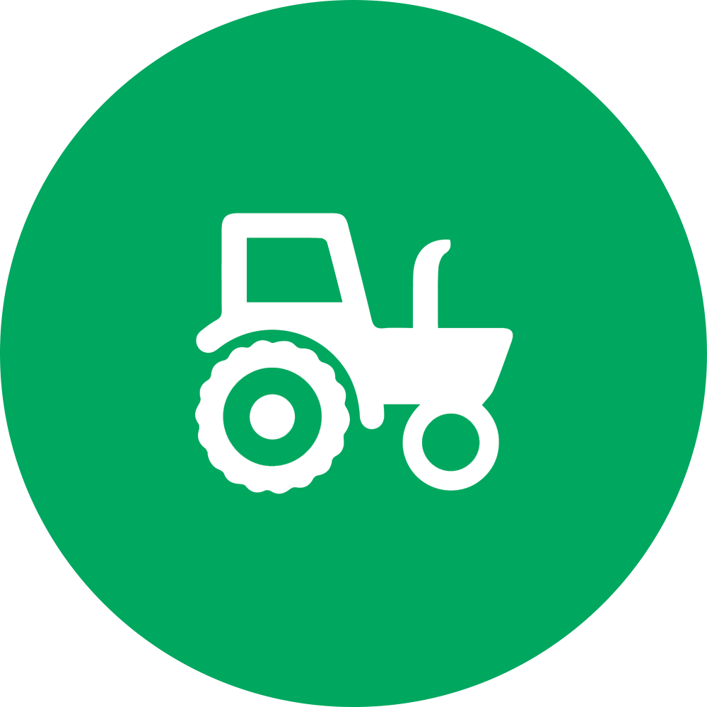 outline of tractor superimposed on green filled-in circle