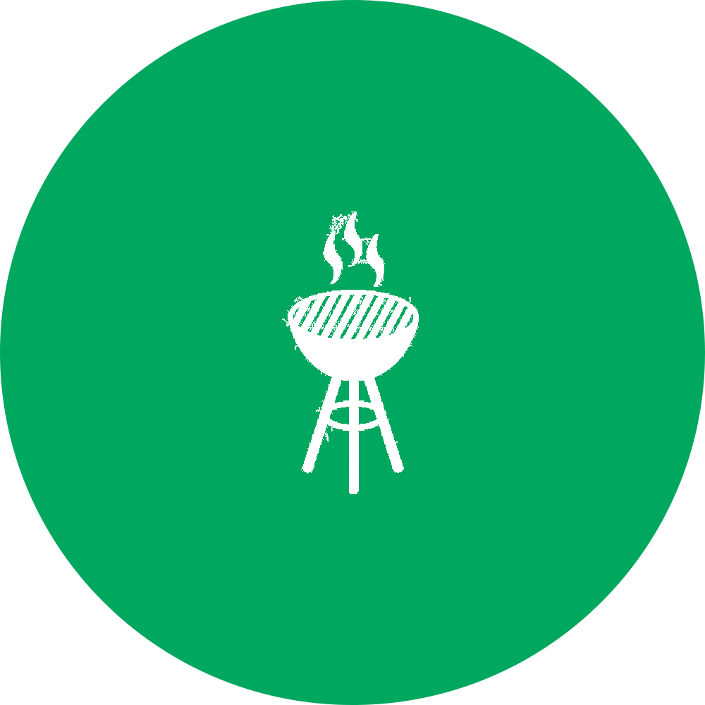 outline of bbq grill superimposed on green filled-in circle