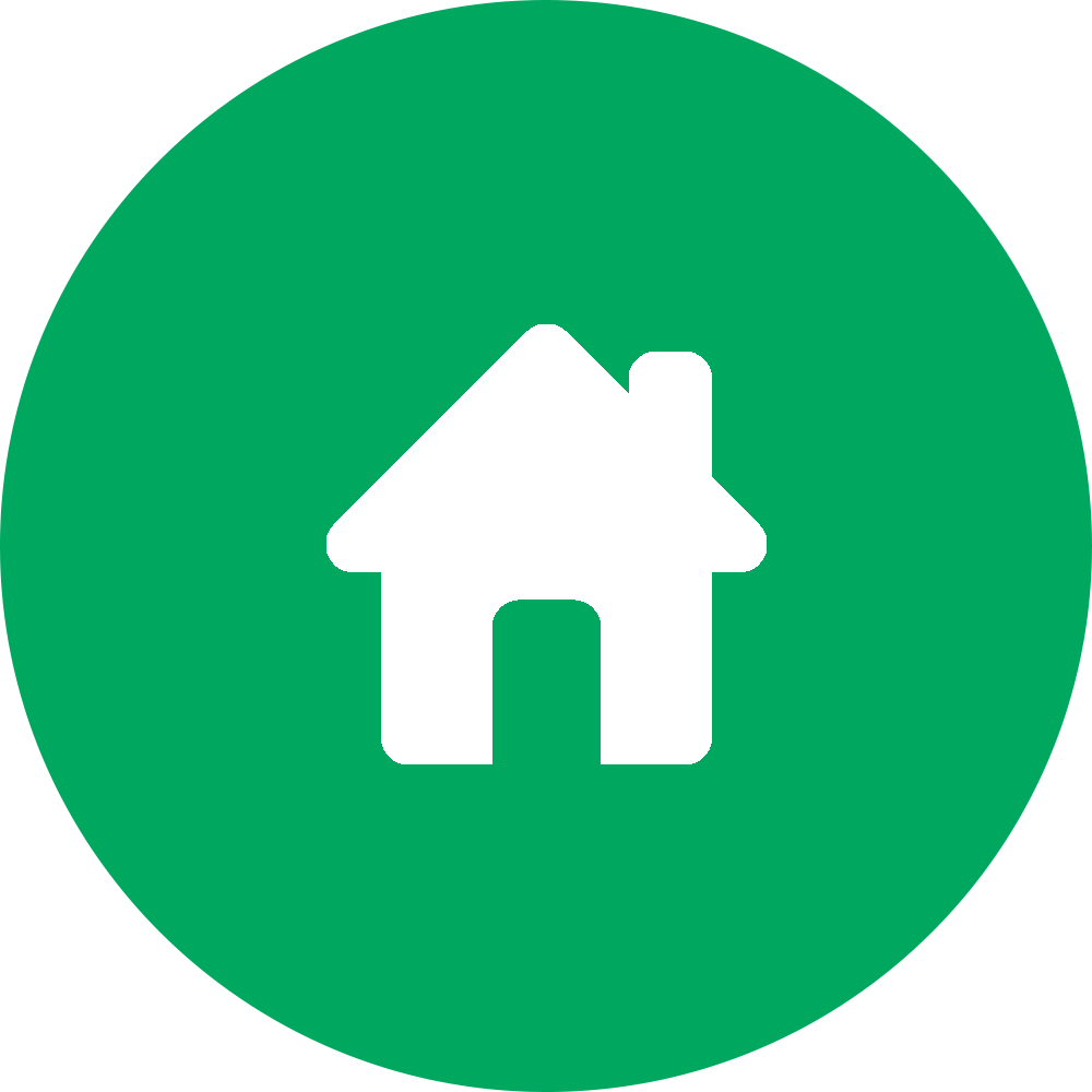 outline of a house superimposed on green filled-in circle
